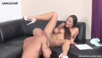 Eva Karera gets analized by Bill Clayton right on his desk