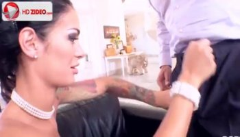 Interracial action with Ebony girl Coffee Brown and white dick
